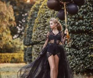 balloon, black colors, and girls image