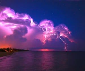 lightning, sea, and sky image