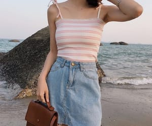 aesthetic, baby pink, and beach image