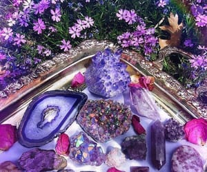purple, crystals, and flowers image