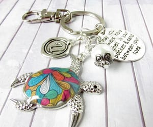 bridesmaid gift, personalized gift, and beaded keychain image