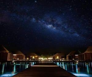 Maldives, sky, and stars image