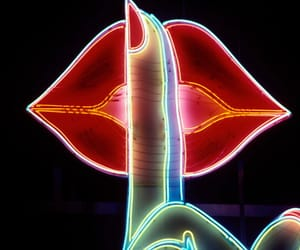 lips, neon, and light image