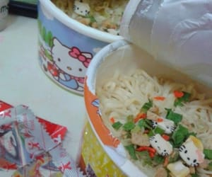 food, hello kitty, and noodles image