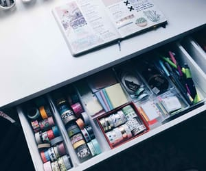 school supplies, washi tapes, and studyblr image