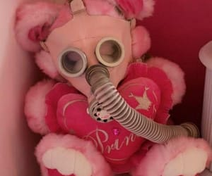 pink, gas mask, and teddy bear image