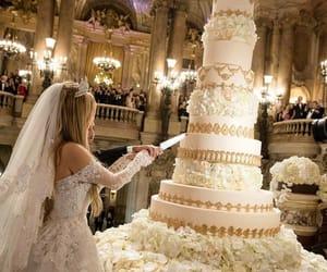 bride, wedding, and cake image