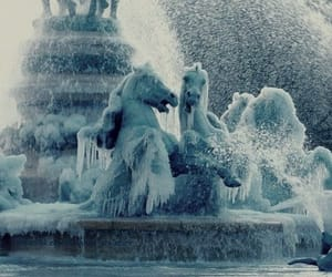 fountain, ice, and winter image