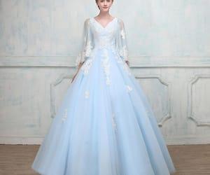 beautiful dress, long dress, and prom dress image