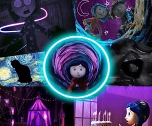 buttons, coraline, and purple image