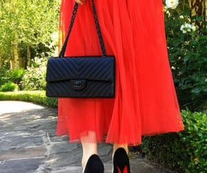 clothes, red shoes, and skirt image
