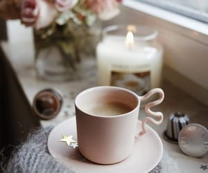 candle, coffee, and coffee mug image