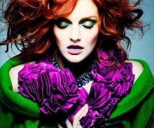rehdead purple flowers and green blouse redhead image