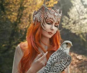 redhead white dress, redhead falconer, and owl crown falcon image
