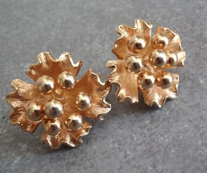 gold tone, clip on, and vintage earrings image