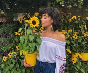 sunflower, flowers, and girl image