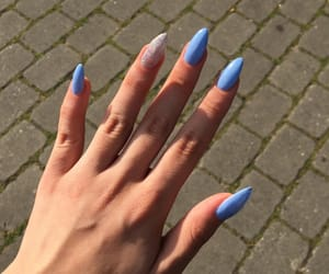 blue, glitter, and long nails image