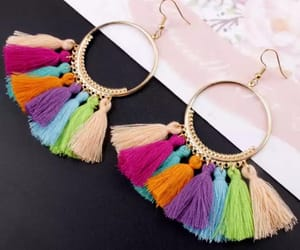 colourful, earrings, and tassel image