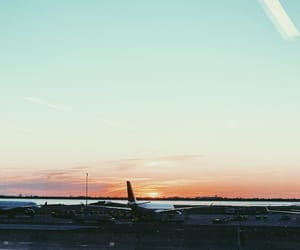 airplane, airport, and new york image