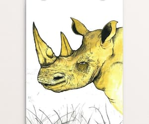 ink drawing, rhino, and endangered species image