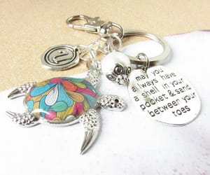 etsy, initial keychain, and beach keychain image