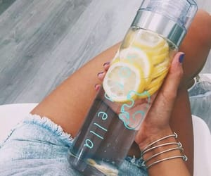 lemon, water, and drink image