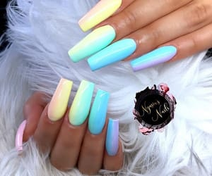 pastel colors, acrylic nails, and pride image