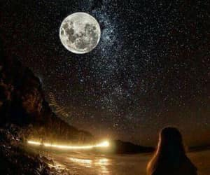 beach, moon, and nature image