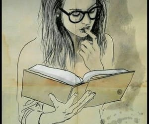 book, girl, and art image