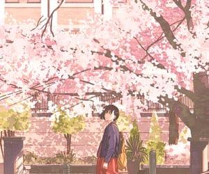 anime, cherry blossom, and girl image