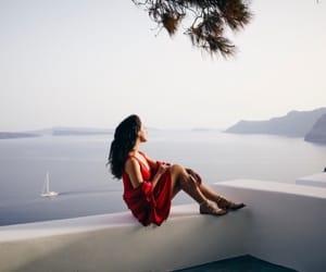 beach, Greece, and woman image