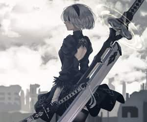video game, nier automata, and 2b image
