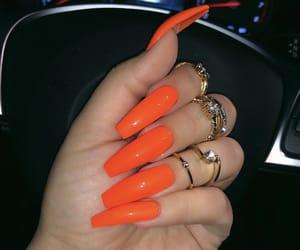 nails, orange, and jewelry image