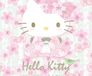 art, hello kitty, and flowers image