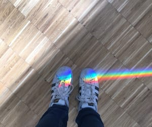adidas, rainbow, and sneakers image