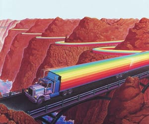rainbow, art, and truck image