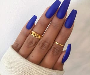 nails, blue, and ring image