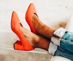 fashion, femininity, and orange shoes image
