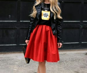 blonde, girl, and red skirt image