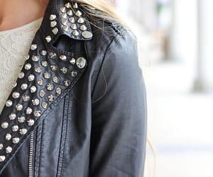 fashion, studs, and leather jacket image