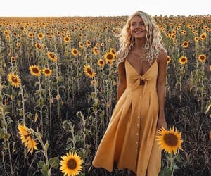 dress, sunflower, and flowers image