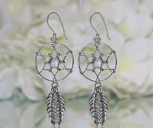 earring, gemstone earrings, and moonstone earrings image