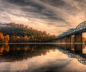bridge, lake, and landscape image