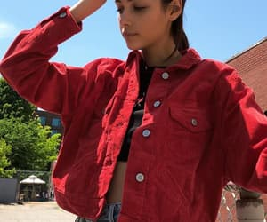 denim, outfit, and red image
