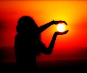 girl, moon, and sun image