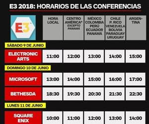 e3, horarios, and conferencias image