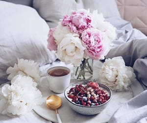 coffee, food, and peonies image