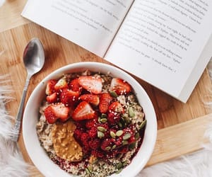 books, food, and strawberry image