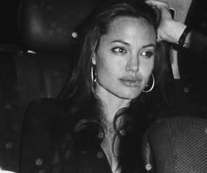 Angelina Jolie, black and white, and girl image