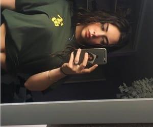 dark, tshirt, and woman image